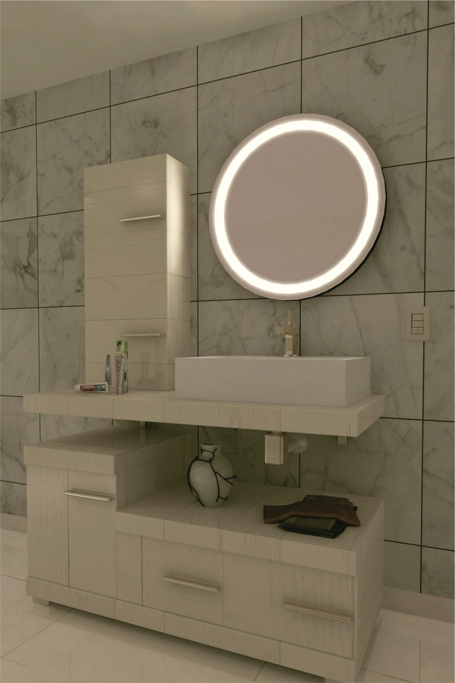 espejo con luz led integrada mod 110 gldesign